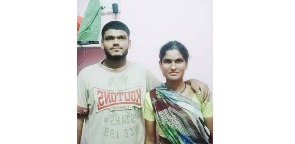 A photo of graduate Arvind Gautam Jagtap with his mother